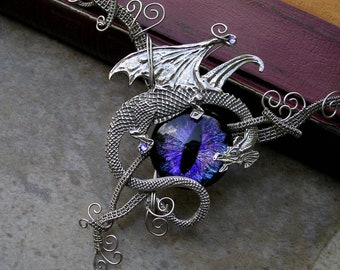 SOLD  - Gothic Dragon Evil Eye Steampunk - Choker or Necklace - Silver Pewter Purple Violet Blue Black - OOAK - Super Color shift