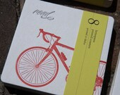 Road BIKE Coasters, (Letterpress printed, 3.5 inches) set of 8, perfect gift