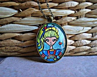 Handmade Rainbow Brite Necklace- Art Pendant