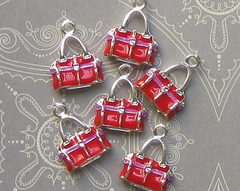 5 Purse Charms Silver Plated Enamel 3D Absolutely Adorable E21