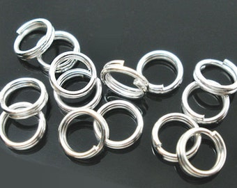 100 Split Rings 6mm High Quality Silver Plated - J21