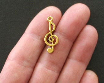 10 Musical Charms Antique Gold Tone Treble Clef - GC069