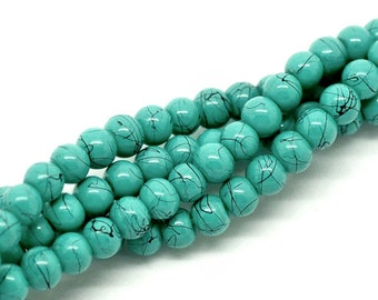 BULK 200 Mottled Glass Beads 4mm Turquoise with Midnight Black Accents- 1 Strand - BD063