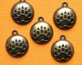 6 Bear Paw Charms Antique Bronze Tone  - BC552