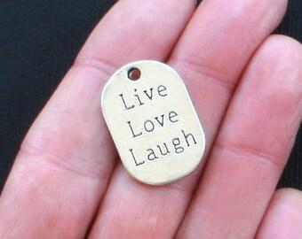 4 Live Love Laugh Charms Antique  Silver Tone - SC1335