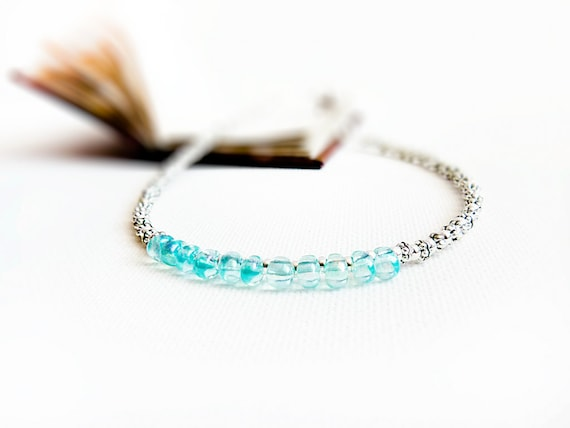Bridal beaded anklet. Beach wedding aqua blue silver tiny beads ankle bracelet Nautical