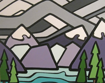 Landscape Art Print- Clorful Mountains and Sky-Rocky Mountains- British Columbia-Alberta Art-Interior Decor-Home Decor-Office-Perfect Gift