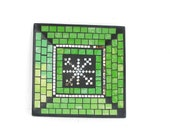 Green tray mosaic winter holiday home decoration snowflake decor with mirror
