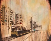 Mixed Media Art, Train Art, Romania Art, Waiting on the Next Train – MOUNTED to wood panel