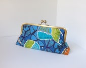 Blue Butterfly Print Cotton Clutch Handbag - Eyelah