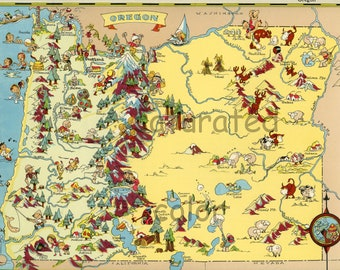 Oregon Map ORIGINAL 9 x 13 Vintage 1930s Antique Picture Map - Ruth Taylor White - Portland - Coos Bay - Souvenir - Eugene - Bend