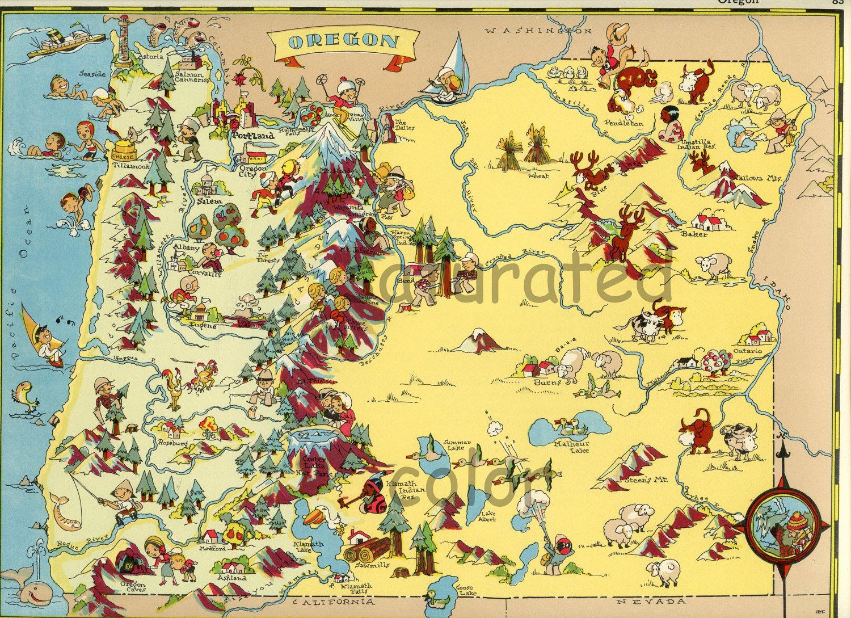 Oregon Map ORIGINAL 9 X 13 Vintage 1930s Antique Picture Map