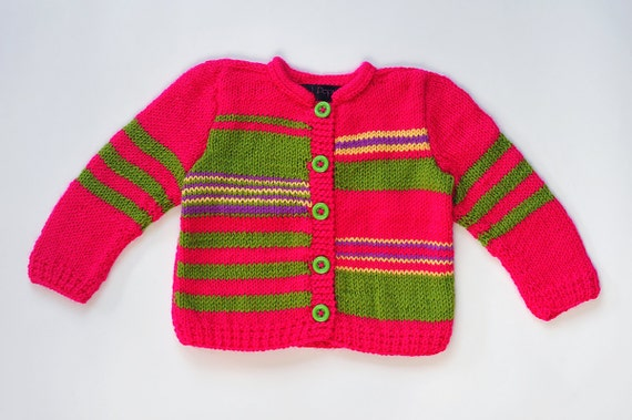 Baby Girls sweater / jacket knitted cardigan hot pink green purple warm fall, winter Christmas knitting 18-24 months / 2 T toddler
