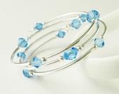 Sapphire Blue Bracelet Memory Wire Swarovski Element Crystals Bangle Style Wrap