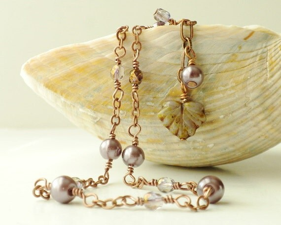 Copper Anklet Beaded with Plum Purple Pearls Maple Leaf Bead Charm Adjustable Ankle Bracelet