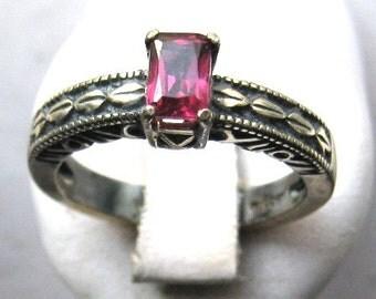 Emerald Cut Rhodolite Garnet Sterling Silver Ring Handmade Pink Tanzanite Green Tourmaline Blue Sapphire Fine Jewelry size 4 5 6 7 8 9 10