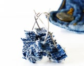 Upcycled Denim Earrings Blue Cowgirl Jewelry by TrashN2Tees