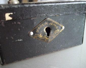Metal Bank Made in Japan, Vintage Storage, Black Treasure Box, Trinket Box