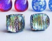 Falling Star - Fused Glass Stud Earrings
