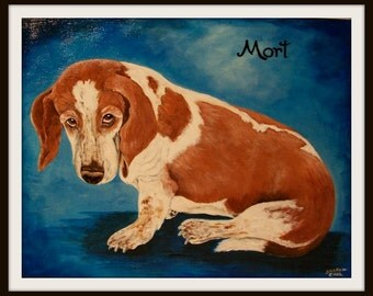 Basset Hound Pet Portrait Hand Painted One Dog or Cat 11 x 14 Canvas Painting of Your Dog or Cat or Horse Pet Lover Pets Custom Personalized
