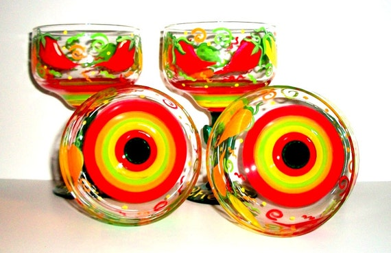 Margarita Glasses Hot Chili Peppers Hand Painted Set of 4- 16 oz. Cinco de Mayo Mexican Party Painted Glassware Wedding Red Yellow Green