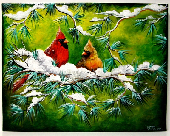 Cardinals in the Snow Original Canvas Acrylic Painting Hand Painted 11 x 14 Stretched Canvas Valentines Day Gift