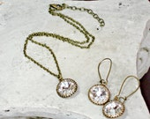 BRIDESMAID Necklace and Earring Antique Brass Matching Set with Swarovski Crystals, Bridesmaid Gift, Bridesmaids Gifts, Prom Formal
