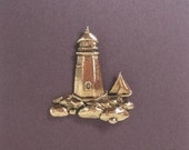 Lighthouse with Sailboat Brooch - BZ Designs