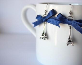 Silver and Blue Bow Eiffel Tower Minimalist Earrings