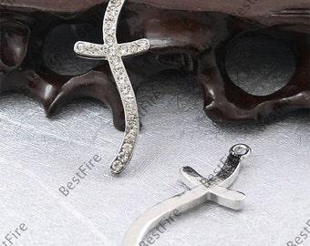 5pcs of 15x40mm platinum tone Rhinestone Cross Pendant,Rhinestone Cross findings