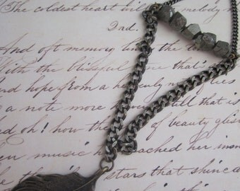 Feather and Pyrite Necklace