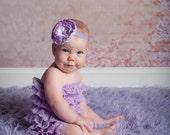 lavender petti romper with headband