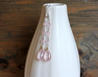 Rose quartz earrings, rose quartz with silver and crystals, handmade earrings