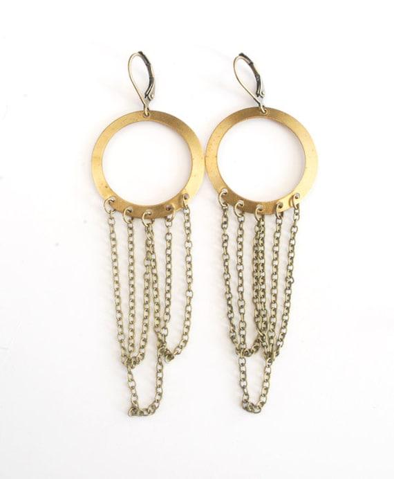 Round Dangle Chain Earrings. Brass Circle Earrings