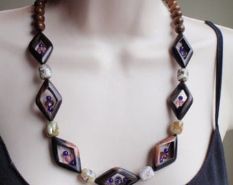 Diamond Tropical Wood Bead Necklace with Purple Chunky Necklace