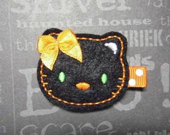 Halloween Kitty Feltie Hairbow Clippie - For Infant Toddler Girl