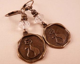 Brass Earrings Cat Earrings Brass Jewelry Beaded Earrings Beaded Jewelry Cat Jewelry Animal Jewelry
