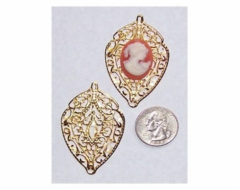 1pc Art nouveau charm Gold Filigree finding stamping 56x35mm leaf shaped jewelry findings (cameo not included) 282x