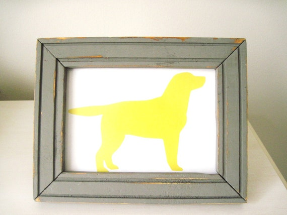 Yellow Lab Silhouette and Gray Frame