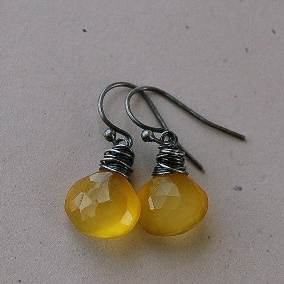 Yellow Chalcedony and Sterling Silver Earrings - Fireflies