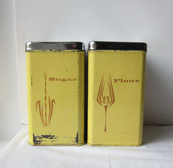Vintage Lincoln Beauty Ware Sugar and Flour Yellow Canister Set