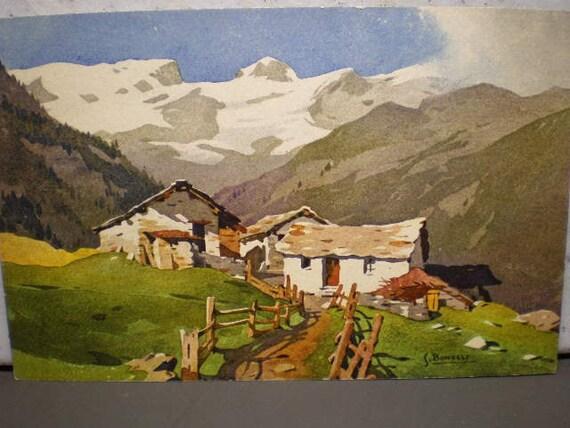 Vintage 1940's  Illustrated European 1940's Postcard -  Vallee de Champolus vers le Breithorn
