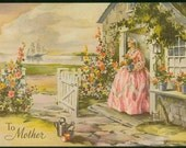 "Vintage print ""To Mother"" Cottage and seashore"
