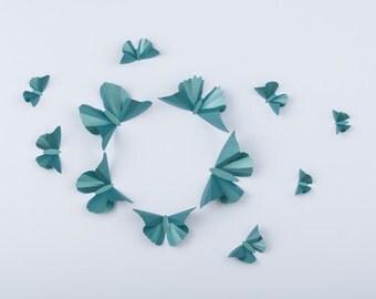 3D Wall Butterflies, Fir Green Metallic Butterfly Silhouettes for Girls Room, Nursery, and Home Art Decor