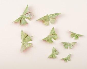 3D Butterfly Wall Art: Spring Green Dots Paper Butterflies for Wall Decor, Nursery, Children's Room