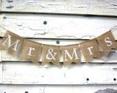 Mr and Mrs Burlap Banner - Wedding Banner