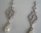 LISA  Vintage Inspired Delicate Scroll with Swarovski Crystals and Ivory Pearl Earrings