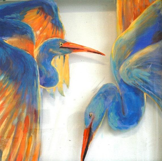 Loving Herons -- Original Art -- Lovely Blue Herons Wall Art Painted on Vintage Window Glass -- Free Shipping