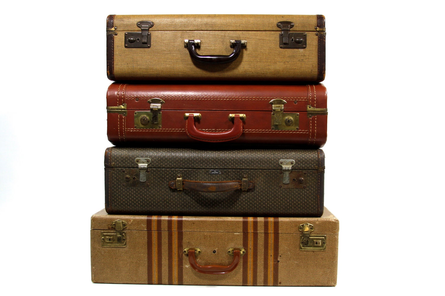 Reserved set of four stackable vintage suitcases - Vintage suitcase ...