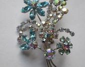 Vintage Brooch Figural Flower Bouquet AB Blue Rhinestones Austria